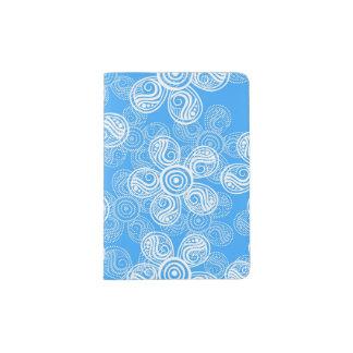 Groovy Blue Flowers Design Passport Holder