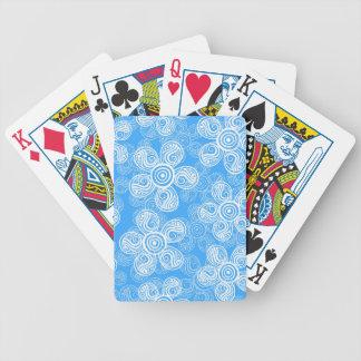 Groovy Blue Flowers Design Poker Deck