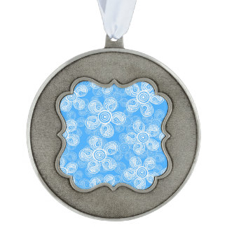 Groovy Blue Flowers Design Scalloped Pewter Ornament