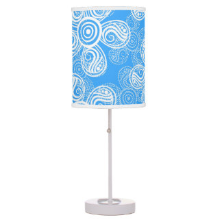 Groovy Blue Flowers Design Table Lamps