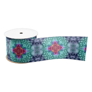 Groovy Blue Kaleidoscope  Ribbons, 1.5 or 3 inch Satin Ribbon
