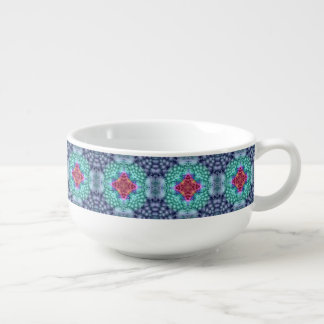 Groovy  Blue  Kaleidoscope Soup Mugs