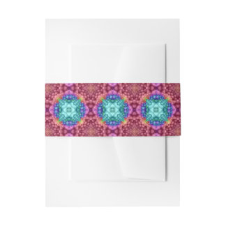 Groovy Blue Vintage Invitation Belly Band