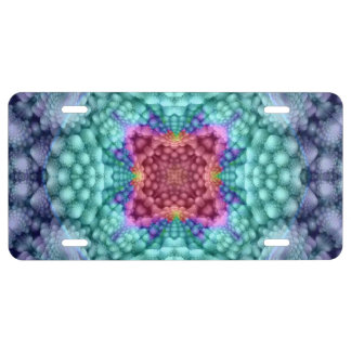 Groovy Blue Vintage Kaleidoscope   License Plates