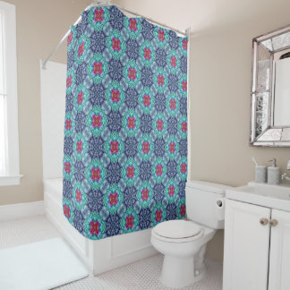 Groovy Blue Vintage Kaleidoscope   Shower Curtain