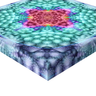 Groovy Blue Vintage Kaleidoscope  Wrapped Canvas