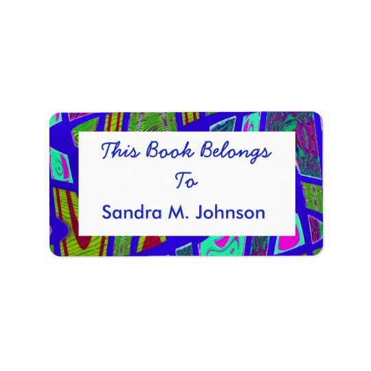groovy bright blue bookplates label