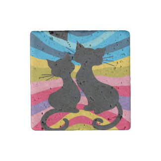 Groovy Cats: Natural Stone Magnet