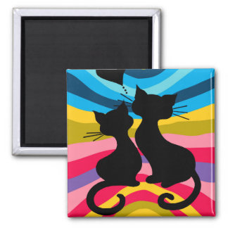 Groovy Cats: Small Sq Magnet