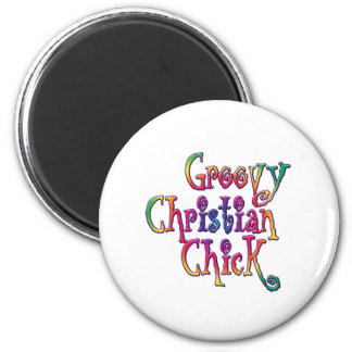 Groovy Christian Chick 2 Inch Round Magnet