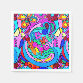 groovy colorful peace and love paper napkins