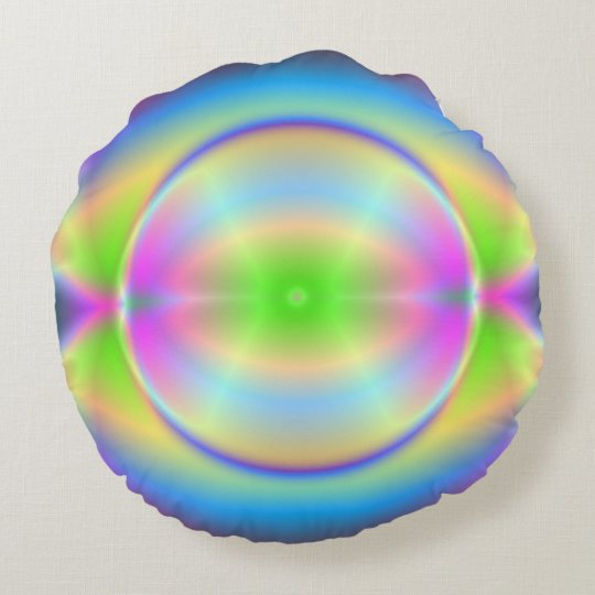 Groovy Crystal Planet Round Pillow