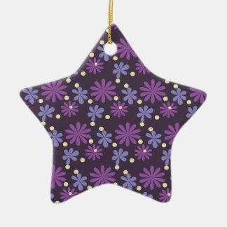 Groovy Floral dark Ceramic Ornament