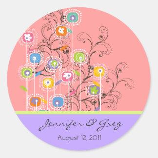 Groovy Flower Garden Save-the-Date / Gift / TQ / Classic Round Sticker