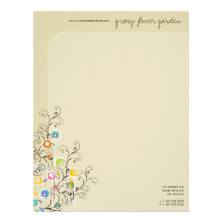 Groovy Flower Garden Whimsical Colorful Floral Letterhead