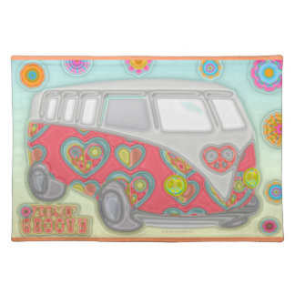 Groovy Flower Power 60s Hippy Van Placemat