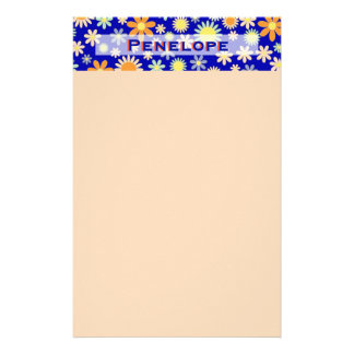 Groovy Girly Retro Flowers with Your Name Stationery
