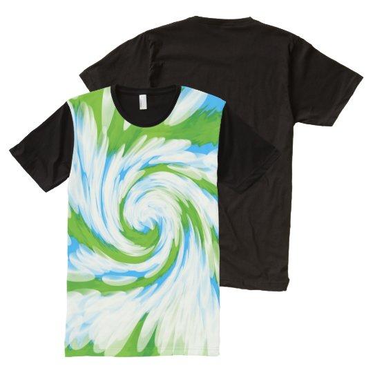 Groovy Green Blue Tie Dye Swirl All-Over-Print T-Shirt