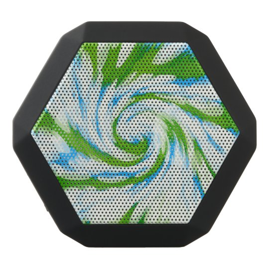 Groovy Green Blue Tie Dye Swirl Black Bluetooth Speaker