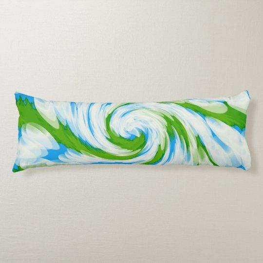 Groovy Green Blue Tie Dye Swirl Body Pillow