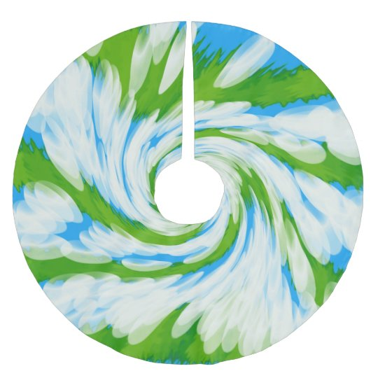 Groovy Green Blue Tie Dye Swirl Brushed Polyester Tree Skirt