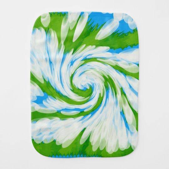 Groovy Green Blue Tie Dye Swirl Burp Cloth