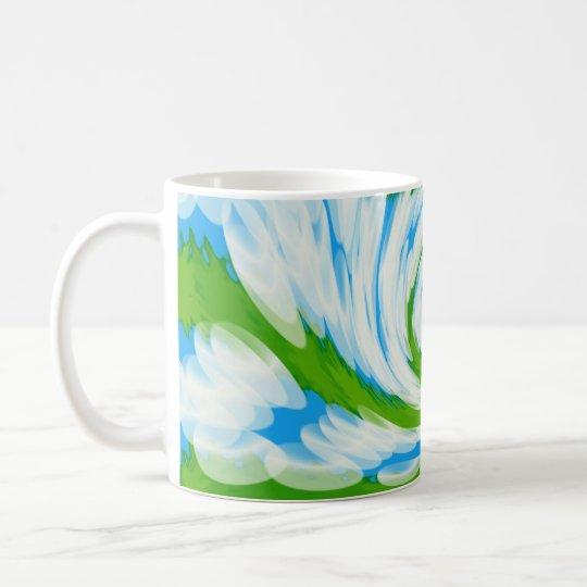 Groovy Green Blue Tie Dye Swirl Coffee Mug