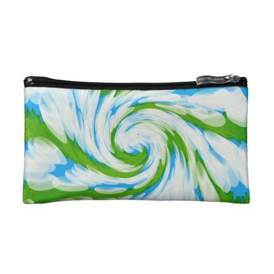 Groovy Green Blue Tie Dye Swirl Cosmetic Bag