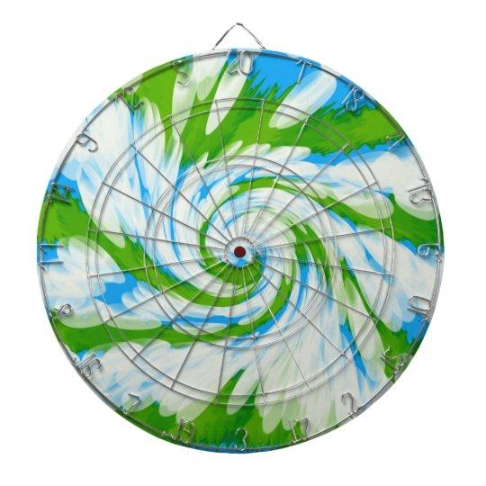 Groovy Green Blue Tie Dye Swirl Dartboard