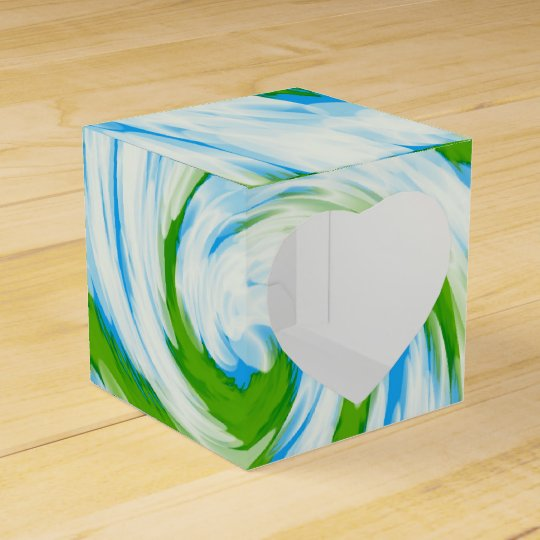 Groovy Green Blue Tie Dye Swirl Favor Box
