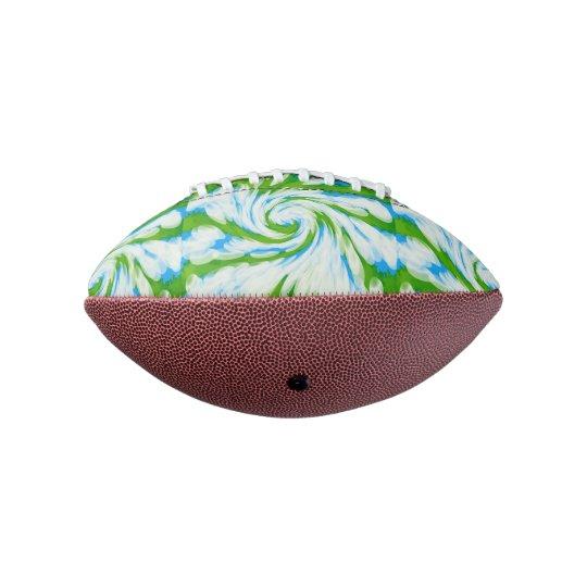 Groovy Green Blue Tie Dye Swirl Football