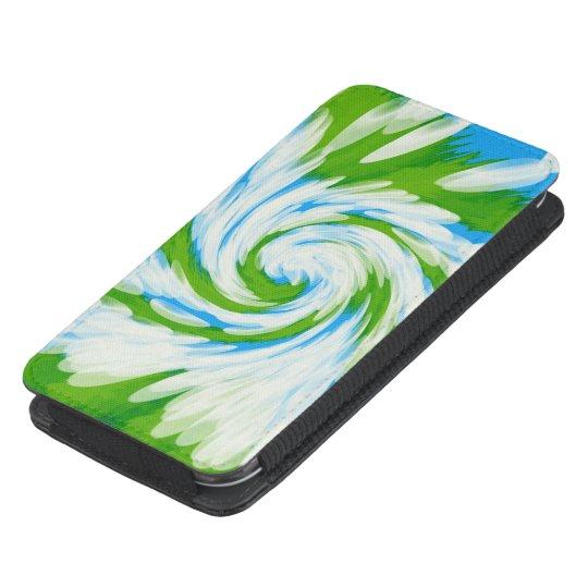 Groovy Green Blue Tie Dye Swirl Galaxy S4 Pouch