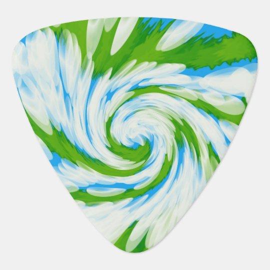 Groovy Green Blue Tie Dye Swirl Guitar Pick