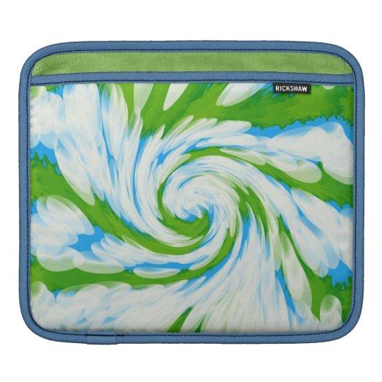 Groovy Green Blue Tie Dye Swirl iPad Sleeve