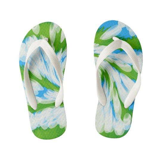 Groovy Green Blue Tie Dye Swirl Kid's Flip Flops