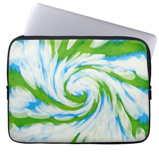 Groovy Green Blue Tie Dye Swirl Laptop Sleeve