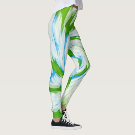 Groovy Green Blue Tie Dye Swirl Leggings