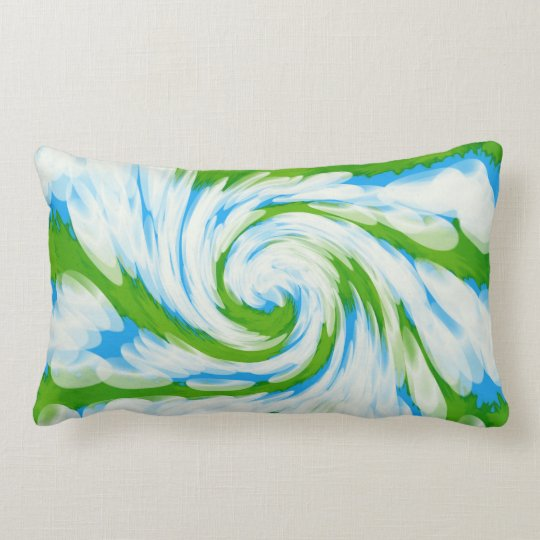 Groovy Green Blue Tie Dye Swirl Lumbar Pillow