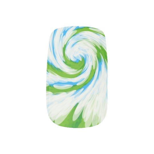 Groovy Green Blue Tie Dye Swirl Minx Nail Art