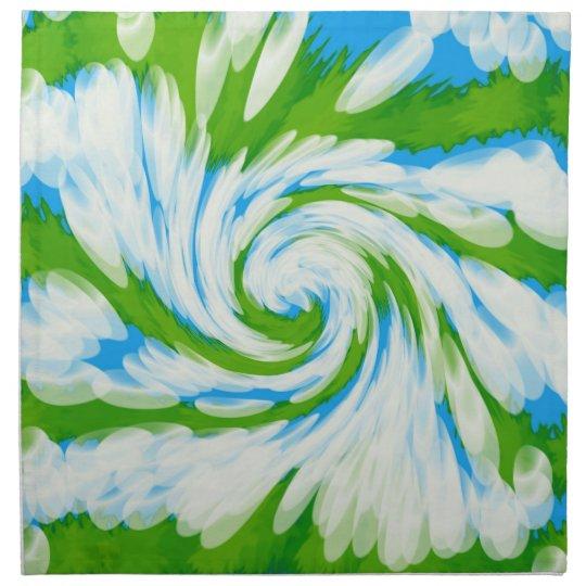 Groovy Green Blue Tie Dye Swirl Napkin