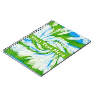 Groovy Green Blue Tie Dye Swirl Notebook