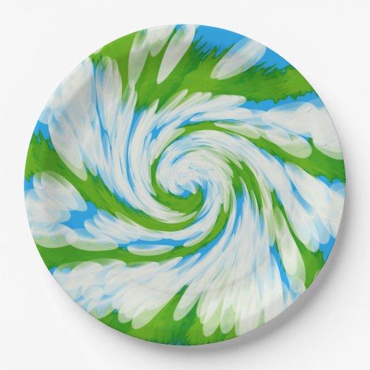 Groovy Green Blue Tie Dye Swirl Paper Plate
