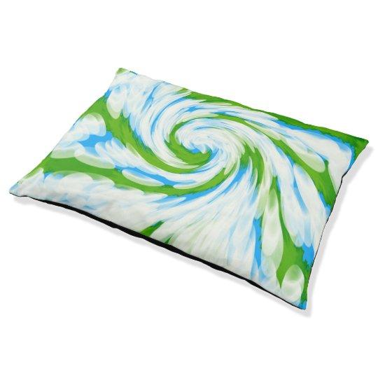 Groovy Green Blue Tie Dye Swirl Pet Bed