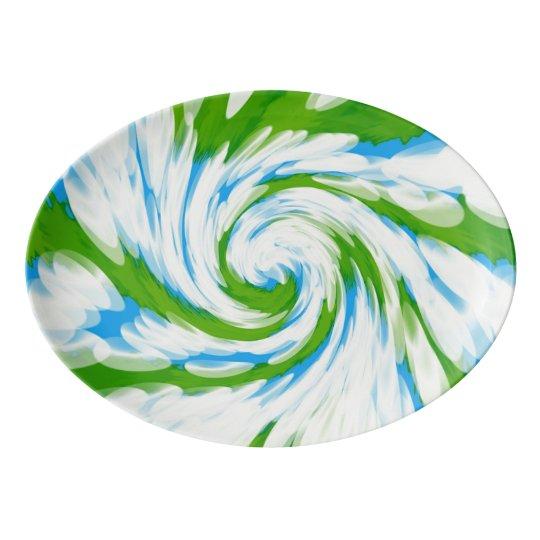 Groovy Green Blue Tie Dye Swirl Porcelain Serving Platter