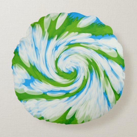Groovy Green Blue Tie Dye Swirl Round Pillow