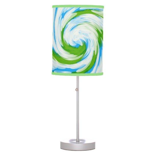 Groovy Green Blue Tie Dye Swirl Table Lamp