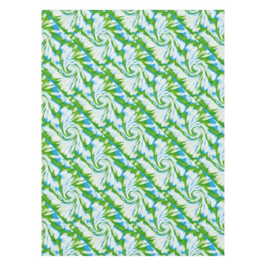 Groovy Green Blue Tie Dye Swirl Tablecloth