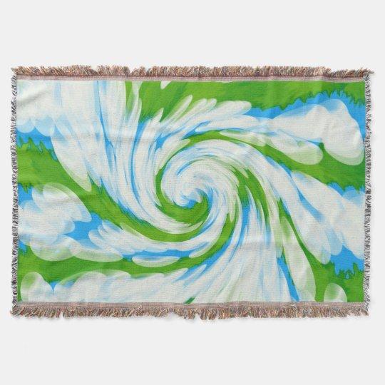 Groovy Green Blue Tie Dye Swirl Throw Blanket