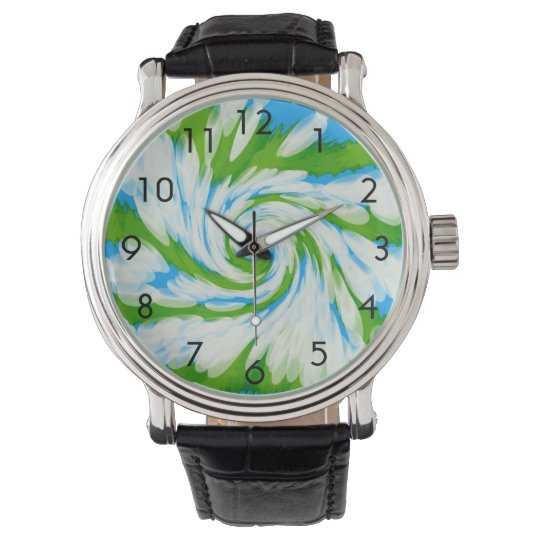 Groovy Green Blue Tie Dye Swirl Watch
