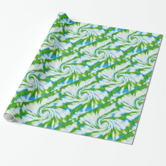 Groovy Green Blue Tie Dye Swirl Wrapping Paper